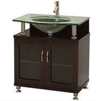 "Accara 30"" Bathroom Vanity - Doors Only - Espresso w/ Clear or Frosted Glass Countertop"