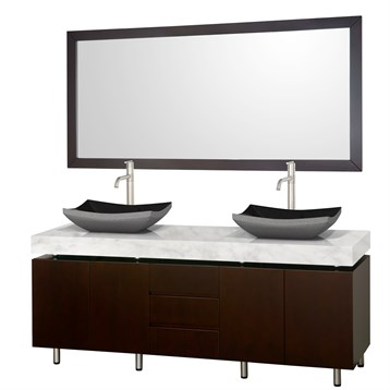 "Malibu 72"" Double Bathroom Vanity Set by Wyndham Collection, Espresso Finish with White Carrera Marble Counter... by Wyndham Collection®"