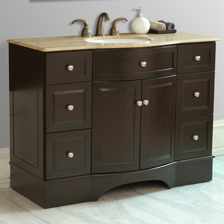 "Stufurhome 48"" Lotus Single Sink Vanity with Travertine Marble Top - Dark Brown GM-6123NM-48-TR"