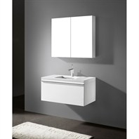 "Madeli Venasca 36"" Bathroom Vanity with Quartzstone Top - Glossy White B990-36-002-GW-QUARTZ"