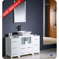 "Fresca Torino 48"" White Modern Bathroom Vanity with 2 Side Cabinets, Vessel Sink, and Mirror FVN62-122412WH-VSL"