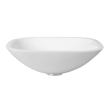 Vigo Square White Phoenix Stone Glass Vessel Sink - Flat Edge Free ...