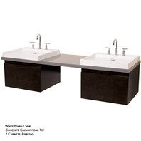 Perfecta Custom Double Wall Mounted Bathroom Vanity with CaesarStone™ Countertop - Espresso