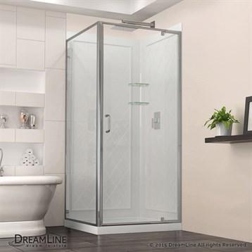 "DreamLine Flex 28-32"" Adjustable W x 32"" D x 76-3/4"" H Frameless Shower Enclosure, Backwall and Base Kit,... by Bath Authority DreamLine"