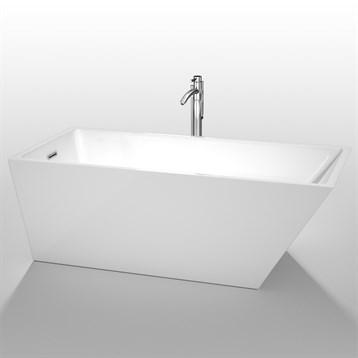 """Hannah 67"""" Soaking Bathtub by Wyndham Collection, White WC-BTK1501-67 by Wyndham Collection®"""