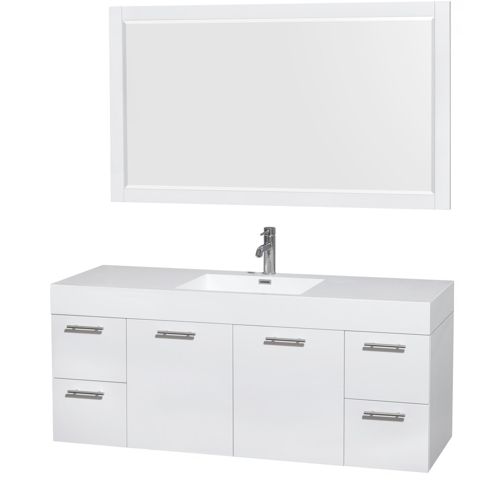 "Amare 60"" Wall-Mounted Single Bathroom Vanity Set with Integrated Sink by Wyndham Collection - Glossy Whitenohtin Sale $1399.00 SKU: WC-R4100-60-VAN-WHT- :"