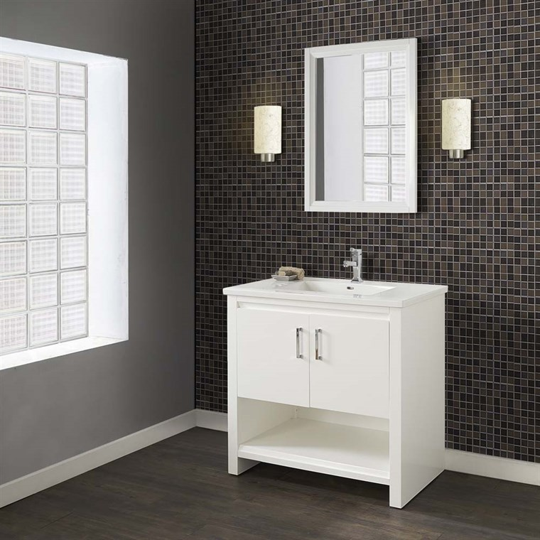 "Fairmont Designs Studio One 36"" Vanity for Integrated Top - Glossy White 1517-V36-"