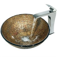 VIGO Textured Copper Glass Vessel Sink and Faucet Set in Chrome VGT139