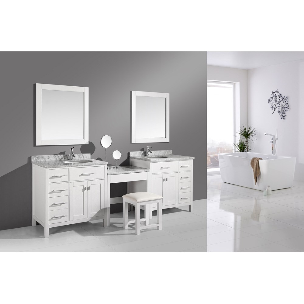 "Design Element London Two 36"" Vanities with a Make-up Table - White DEC076D-W_DEC076D-L-W_MUT-W"