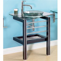 "Essari 32"" Bathroom Vanity with Glass Countertop - Espresso"
