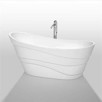 """Kari 67"""" Soaking Bathtub by Wyndham Collection, White WC-BTO860-67 by Wyndham Collection®"""