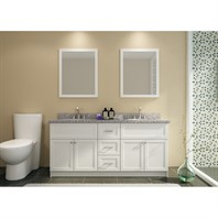 "Ariel Hamlet 73"" Double Sink Vanity Set with New Moss Green Granite Countertop - White F073D-WHT"