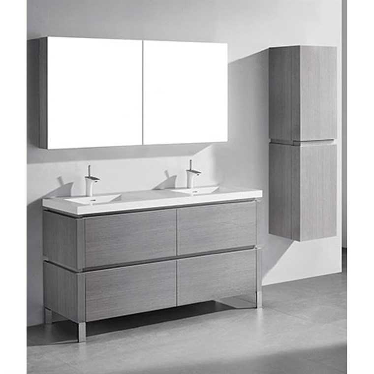 "Madeli Metro 60"" Double Bathroom Vanity for Integrated Basin - Ash Grey B600-60D-001-AG"