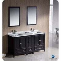 "Fresca Oxford 60"" Traditional Double Sink Bathroom Vanity with Side Cabinet - Espresso FVN20-241224ES"