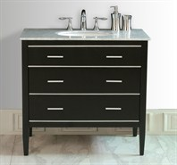 "Stufurhome 36"" Whitney Single Sink Vanity with Italian Carrara White Marble Top - Espresso GM-6414-36-CR"