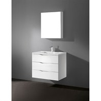 "Madeli Bolano 30"" Bathroom Vanity with Quartzstone Top - Glossy White B100-30-002-GW-QUARTZ"