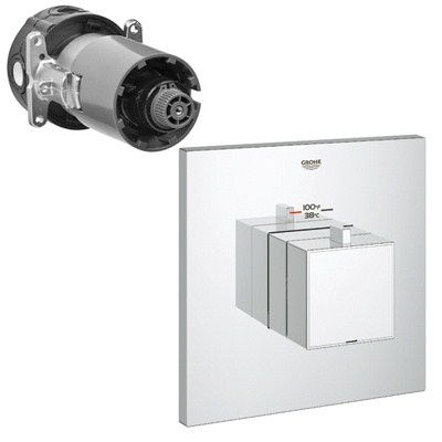 Grohe GrohFlex Cosmo Square Custom Shower Thermostatic Trim with Control Module - Starlight Chromenohtin Sale $425.99 SKU: GRO 19928000 :