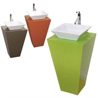 Esprit Custom CaesarStone™ Bathroom Pedestal Vanity - Pyra Vessel Sink CS006-CUSTOM
