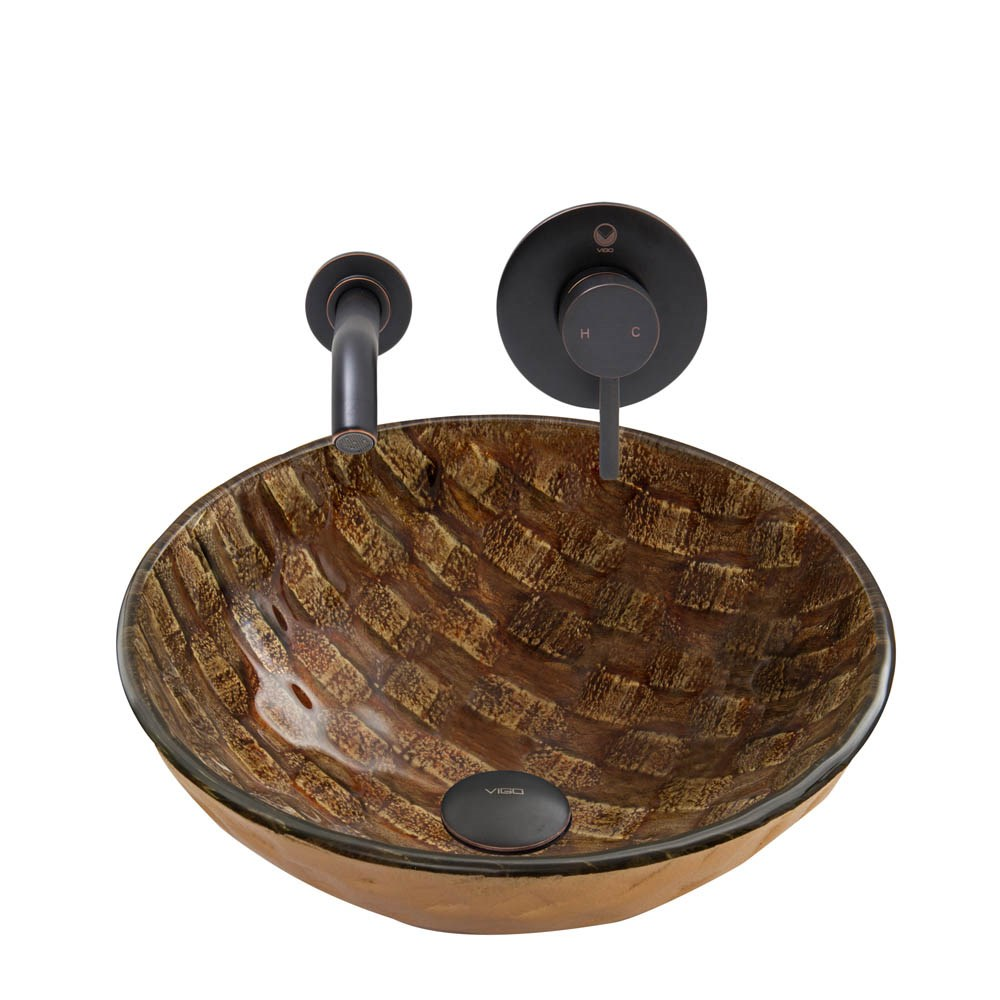 Vigo Playa Glass Vessel Sink And Olus Wall Mount Faucet Set In Antique Rubbed Bronze Finish
