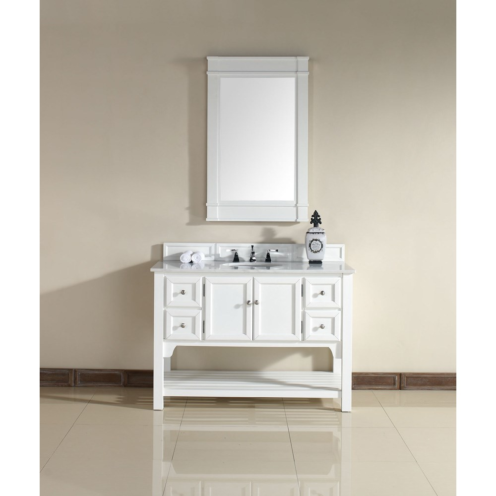 "James Martin 48"" South Hampton Single Vanity with Guangxi Marble Top - Whitenohtin Sale $1440.00 SKU: 925-V48-PWH-GWH :"
