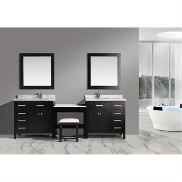 """Design Element London Two 36"""" Vanities with a Make-up Table, Espresso DEC076D_DEC076D-L_MUT by Design Element"""