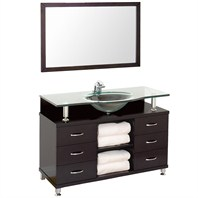 "Accara II 48"" Bathroom Vanity with Drawers - Espresso w/ Clear or Frosted Glass Counter B706T-48-ESP"