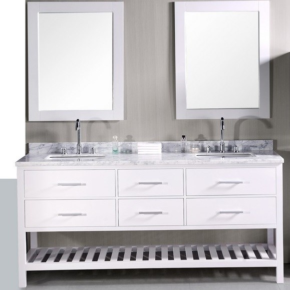 "Design Element London 72"" Double Bathroom Vanity with Open Bottom, White Carrera Countertop, Sinks and Mirrors - Pearl White DEC077B-W"
