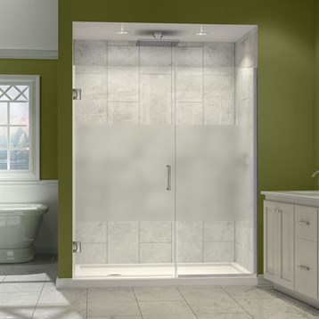 "DreamLine Unidoor Plus 29""-37"" W x 72"" H Hinged Shower Door With Stationary Panel, Half Frosted Glass... by Bath Authority DreamLine"