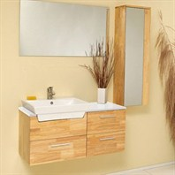 Fresca Caro Natural Wood Modern Bathroom Vanity with Mirrored Side Cabinet FVN6163NW