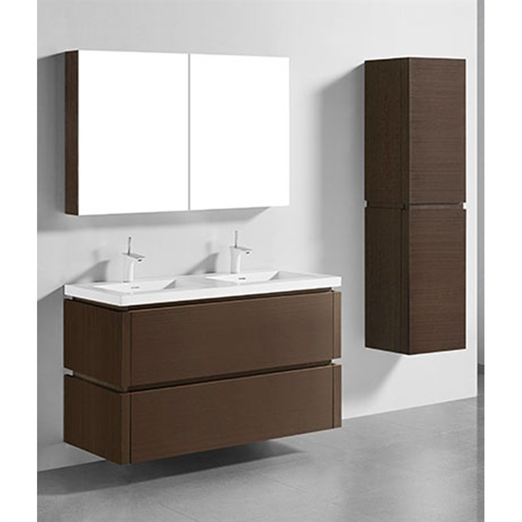 "Madeli Cube 48"" Double Wall-Mounted Bathroom Vanity for Integrated Basin - Walnut B500-48D-002-WA"
