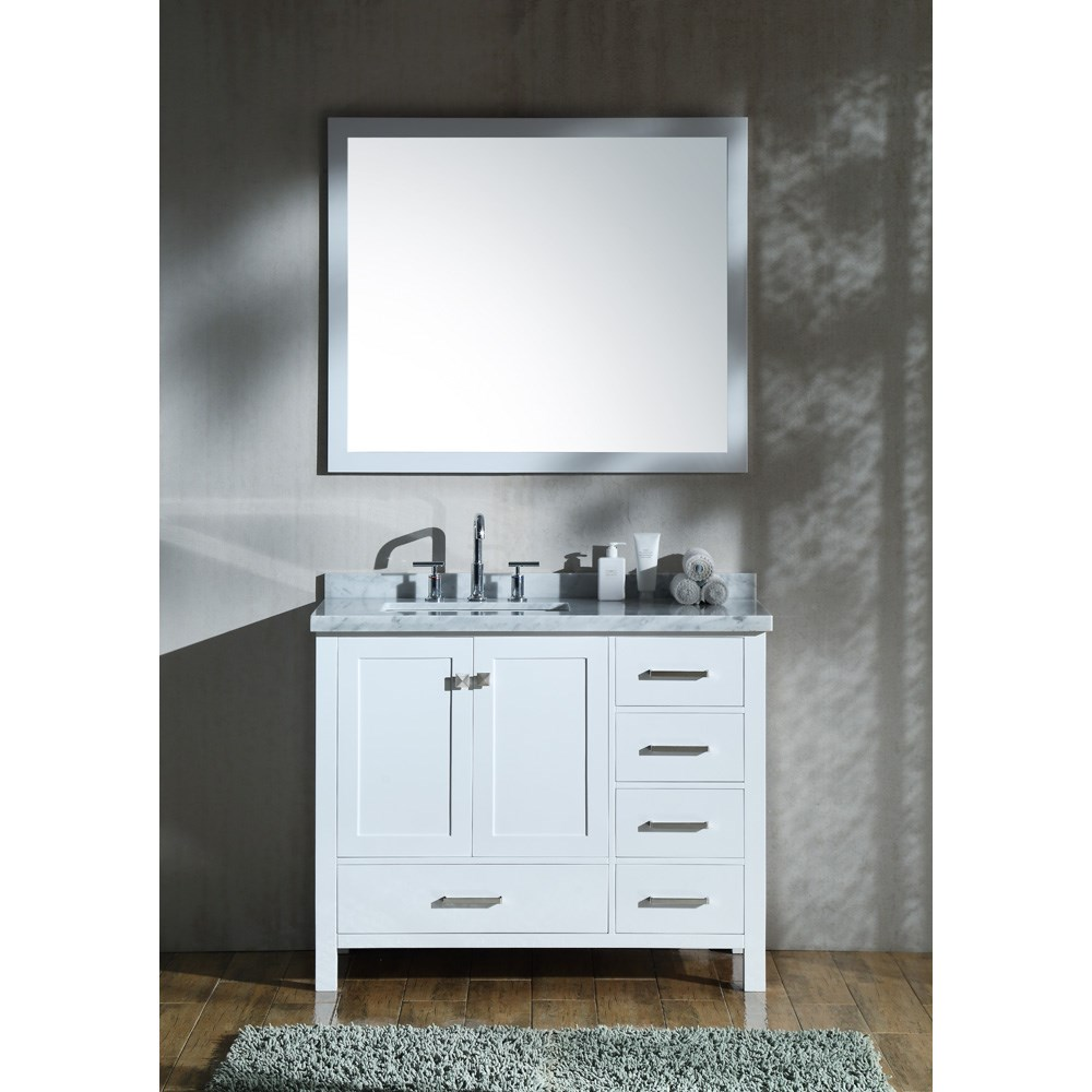 "Ariel Cambridge 43"" Single Sink Vanity Set with Left Offset Rectangle Sink and Carrara White Marble Countertop - White A043S-L-CWR-WHT"