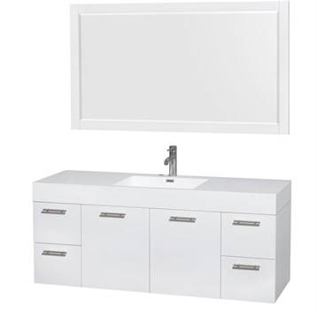 """Amare 60"""" Wall-Mounted Single Bathroom Vanity Set with Integrated Sink by Wyndham Collection, Glossy White... by Wyndham Collection®"""