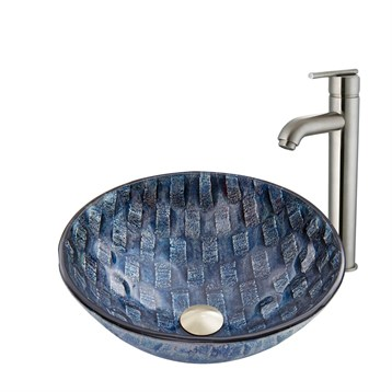 Vigo Rio Glass Vessel Sink and Seville Faucet Set in Brushed Nickel VGT848 by Vigo Industries
