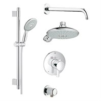 Grohe Europlus Grohflex Bath and Shower Set with Thermostat Valve - Starlight Chrome GRO 35052000