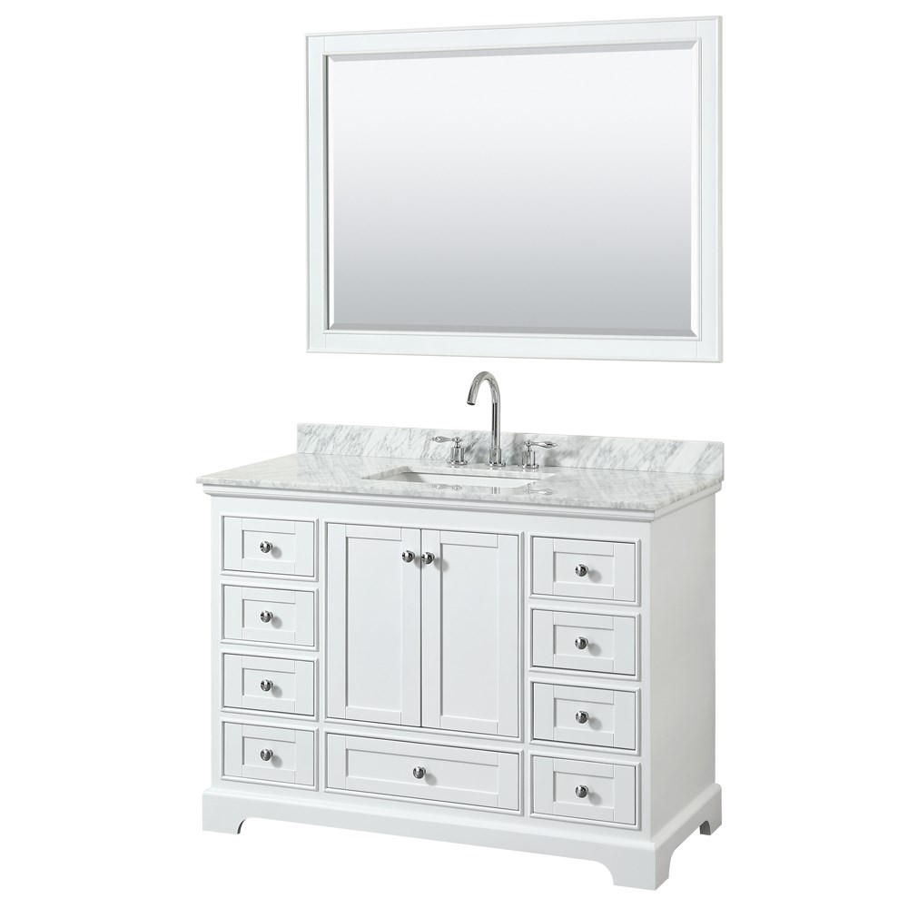 Deborah 48 Single Bathroom Vanity In White Free Shipping Modern Bathroom