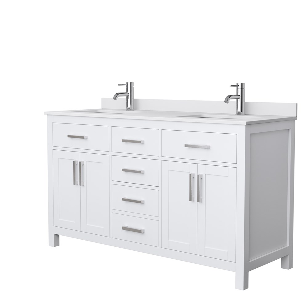 "Beckett 60"" Double Vanity by Wyndham Collection - White WC-2424-60-DBL-VAN-WHT"