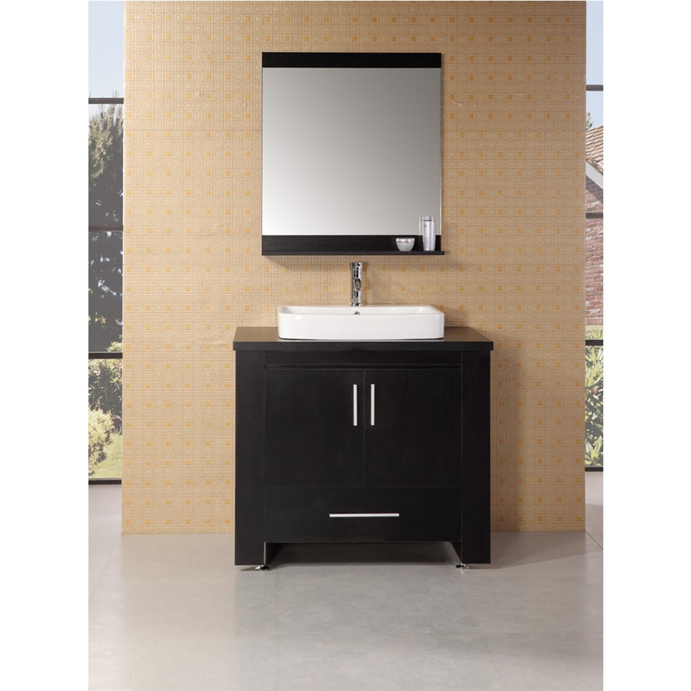 """The 36"""" Washington Vanity is stylishly constructed of solid veneer panels. The designer flat vessel drop in sink and sleek cabinetry bring style and utility to any bathroom. The sink's rectangular round corner design beautifully contrast with the cabinets sleek lines and espresso finish. This vanity includes side shelf storage, soft closing cabinet, one drawer and satin nickel hardware. Included is an espresso framed mirror with shelf. The Washington Bathroom Vanity is designed as a center piece to awe-inspire the eye without sacrificing quality, functionality or durability. Features Solid veneer panelsEspresso finishWater resistant counter topPorcelain drop in sinkFaucet(s) not includedChrome pop up drainEspresso framed mirror with shelfTwo side shelves and towel barsSoft closing cabinet and one drawerSatin nickel finish hardwareManufacturer provides 1 year warranty How to handle your counter"""