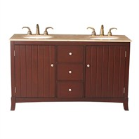 "Stufurhome 60"" Alexis Double Sink Vanity with Travertine Marble Top - Rich Cherry GM-3320-60-TR"