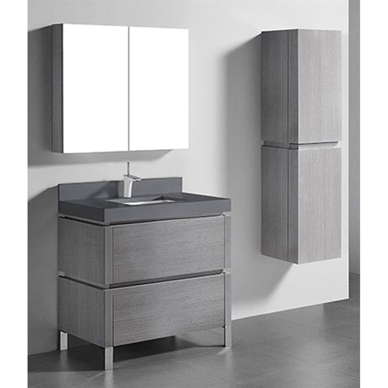 "Madeli Metro 36"" Bathroom Vanity for Quartzstone Top - Ash Grey B600-36-001-AG-QUARTZ"