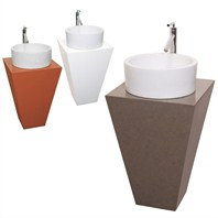 Esprit Custom CaesarStone™ Bathroom Pedestal Vanity - Corsica Vessel Sink CS005-CUSTOM