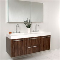 Fresca Opulento Walnut Modern Double Sink Bathroom Vanity with Medicine Cabinet FVN8013GW