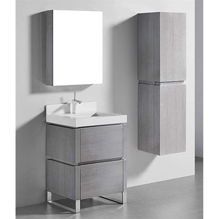 "Madeli Metro 24"" Bathroom Vanity for Quartzstone Top - Ash Grey B600-24-001-AG-QUARTZ"