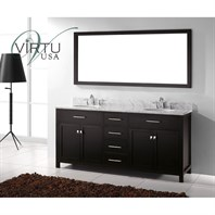 "Virtu USA Caroline 72"" Double Sink Bathroom Vanity - Espresso MD-2072-"