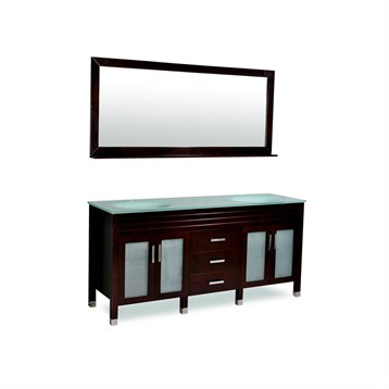 "Belmont decor Dayton 72"" Double Sink Vanity Set with Aqua Marine Tempered Glass Countertop, Espresso DM1D3-72-ESP by Ariel"