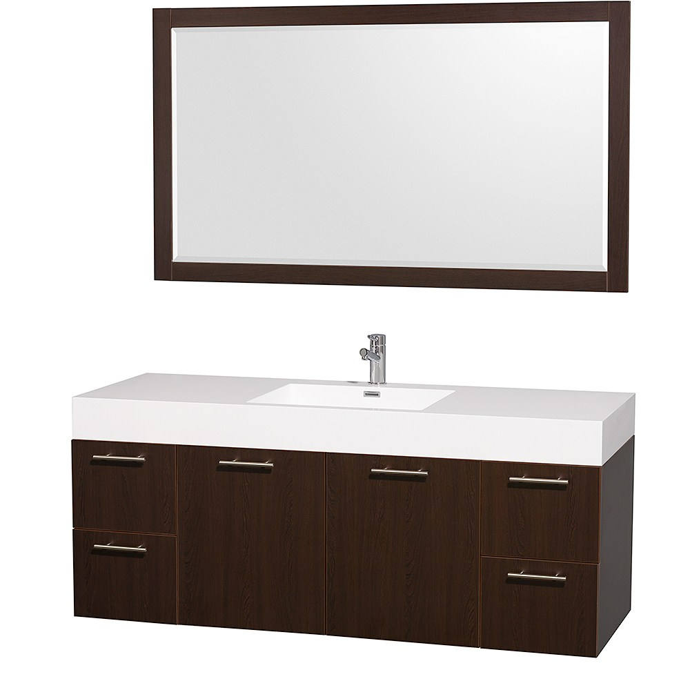 "Amare 60"" Wall-Mounted Single Bathroom Vanity Set with Integrated Sink by Wyndham Collection - Espressonohtin Sale $1399.00 SKU: WC-R4100-60-VAN-ESP-SGL- :"