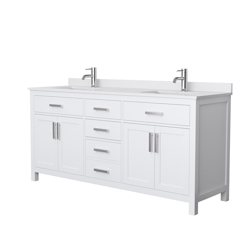 "Beckett 72"" Double Vanity by Wyndham Collection - White WC-2424-72-DBL-VAN-WHT"