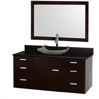 "Encore 52"" Bathroom Vanity Set - Espresso with Black Granite Countertop CG4000-52-ESP-OM-BLK"