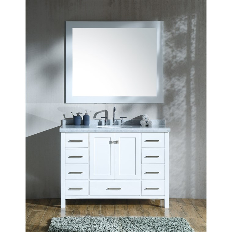 "Ariel Cambridge 49"" Single Sink Vanity Set with Carrara White Marble Countertop - White A049S-WHT"