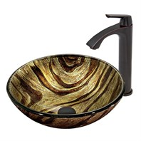 VIGO Zebra Glass Vessel Sink and Linus Faucet Set in Antique Rubbed Bronze Finish VGT410
