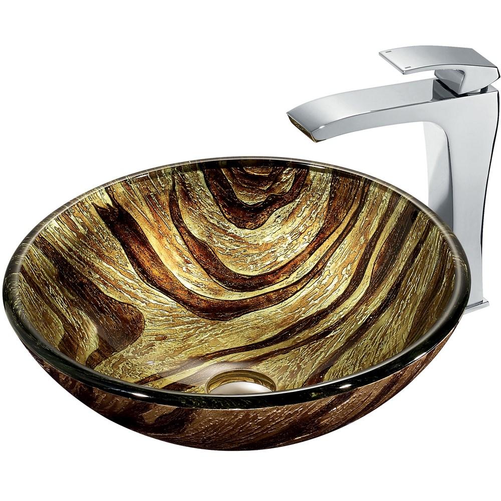 VIGO Zebra Glass Vessel Sink and Faucet Set in Chromenohtin Sale $249.90 SKU: VGT178 :